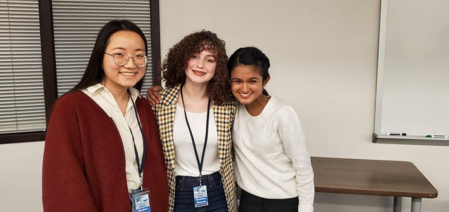 Daphne Han (11), Maddie Duncan (11), Neha Shaw (11). Inaugural session of Kingwood Talks on discomfort, mental illness and civil discourse.