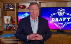 Commissioner Roger Goodell conducting the NFL Draft for 2020 virtually in his basement.