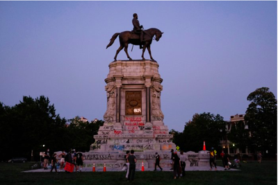 The statue of Robert E. Lee in Richmond has been the site of vandalism and protests in the wake of George Floyd