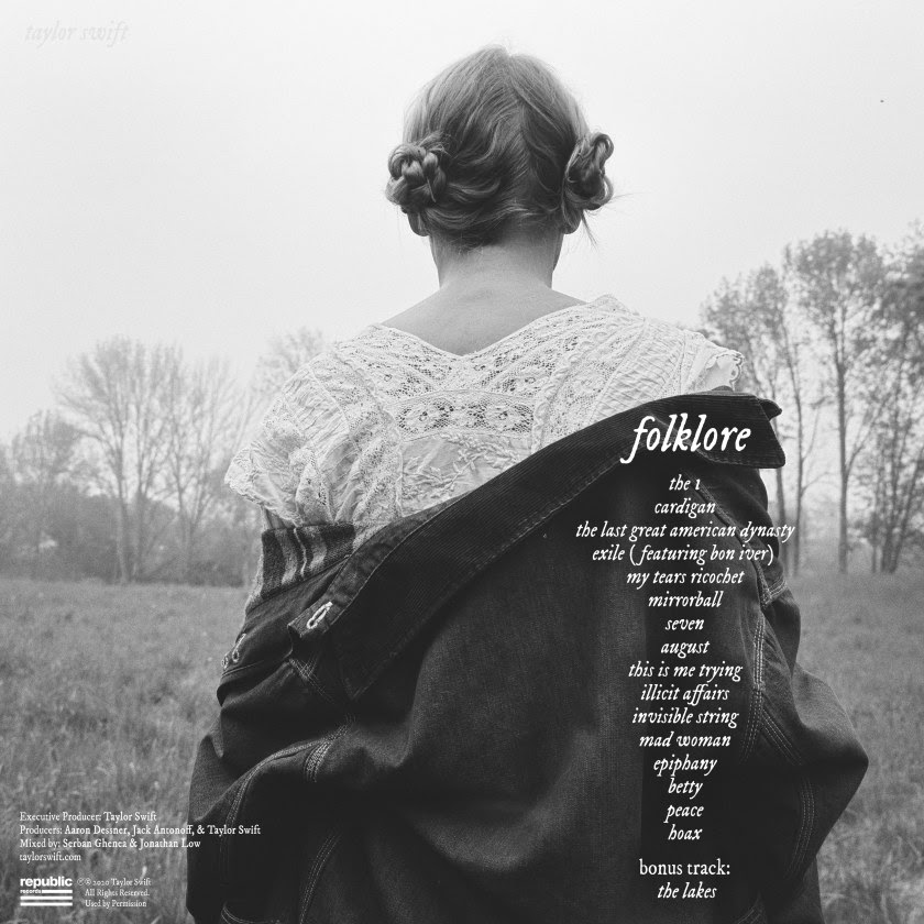 Taylor's album back cover for