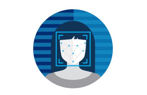 Graphic depicting a facial scan through a facial recognition system.
