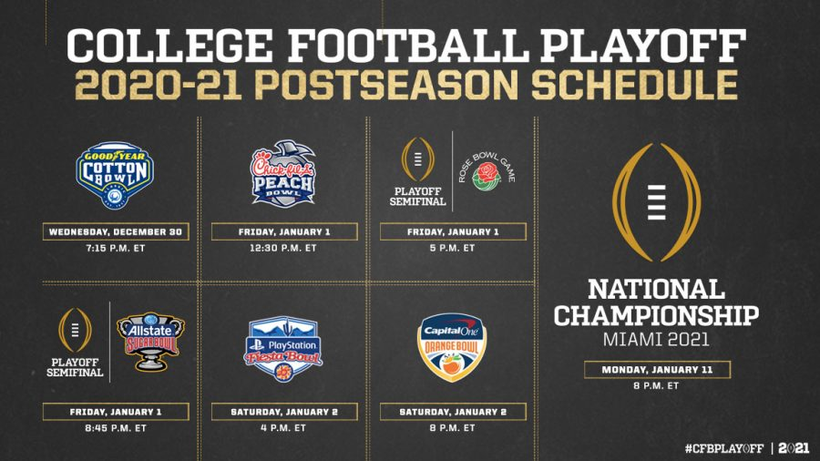 Get ready for a week of great football. Matchups, dates and times have been announced for the 2020-21 New Year's Six and Playoff Semifinals leading to the final game in Miami, January 11th.  Photo Credit: College Football Playoff