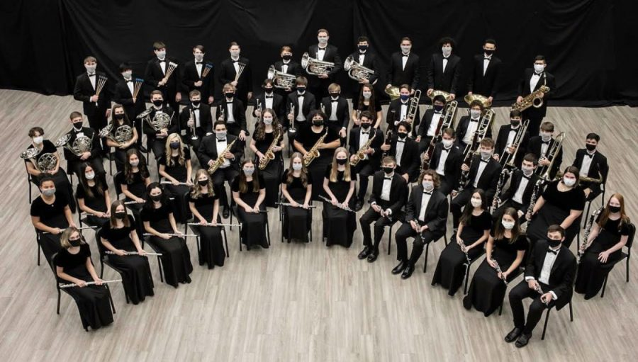 Wind Ensemble poses together for their annual formal group picture.