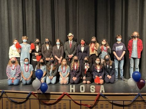 HOSA students pose at their get-together for the virtual area contest closing ceremony,